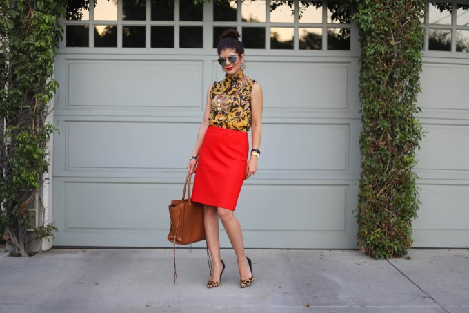 mustard yellow target top and red j crew skirt
