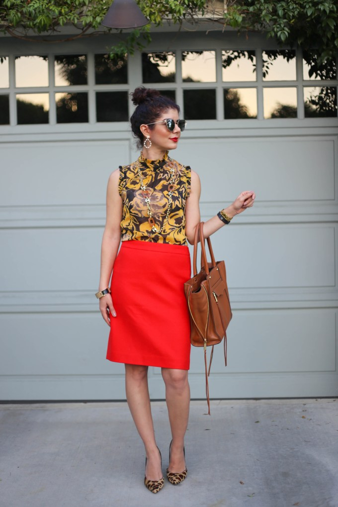 mustard yellow and red target and j crew outfit