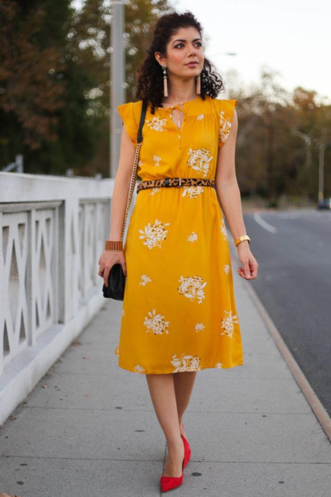 Loft mustard yellow dress with red Kate Spade shoes