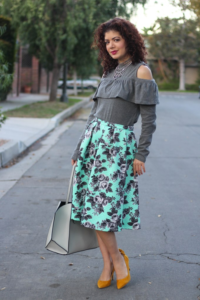 Shein cold shoulder sweater with mint green floral skirt and mustard yellow pumps