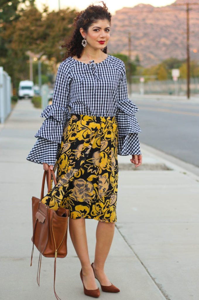 gingham bell sleeve top and fall florals skirt