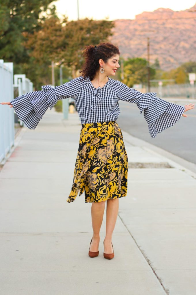 gingham bell sleeve top and fall florals target skirt