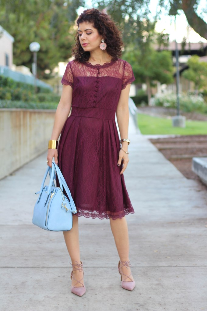 Polished whimsy in baby blue bag and burgundy dress and baublebar primrose drops