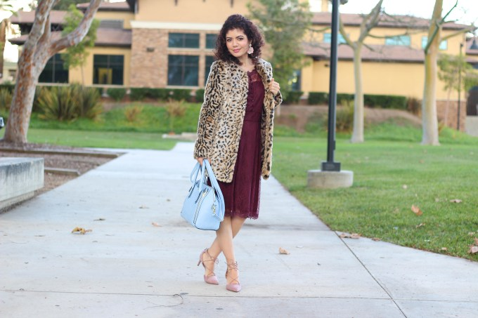 leopard print coat with burgundy dress for thanksgiving outfit