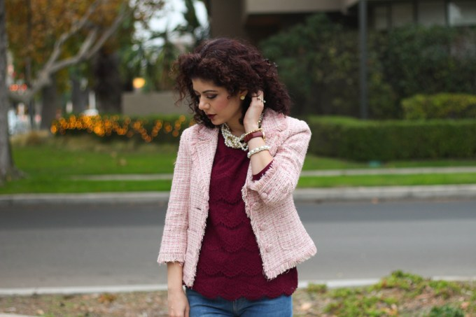 polished whimsy in burgundy and pink