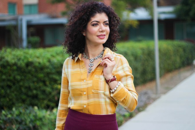 Polished whimsy in mustard and burgundy outfit and baublebar araksi necklace