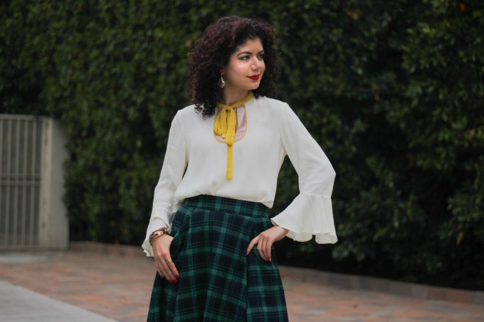 Polished whimsy in anthropologie callum blouse and green tartan skirt