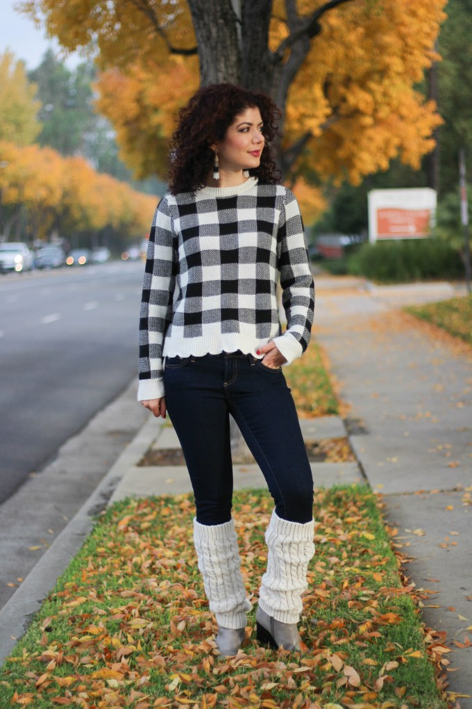 Polished whimsy in buffalo check sweater and wedge booties
