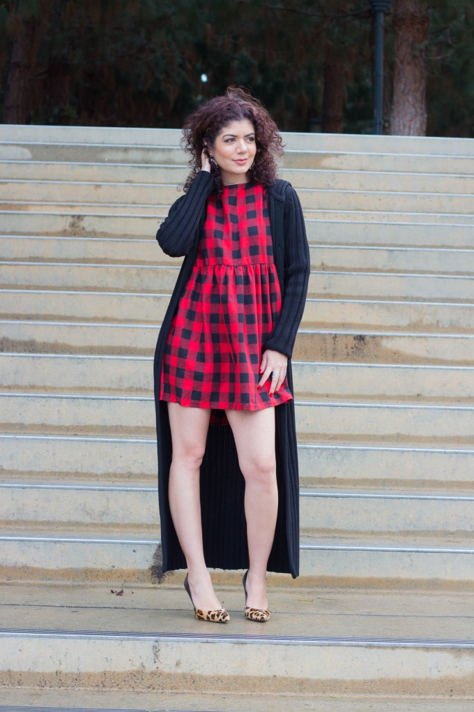 Polished whimsy in buffalo check dress and sweater duster cardigan