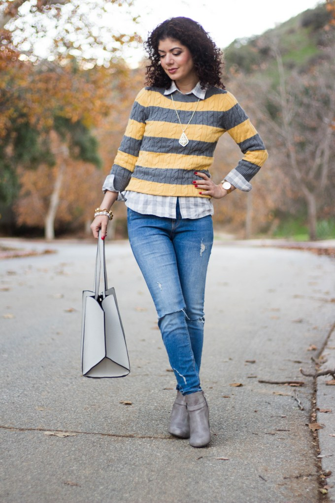 Polished whimsy in gray and mustard casual outfit