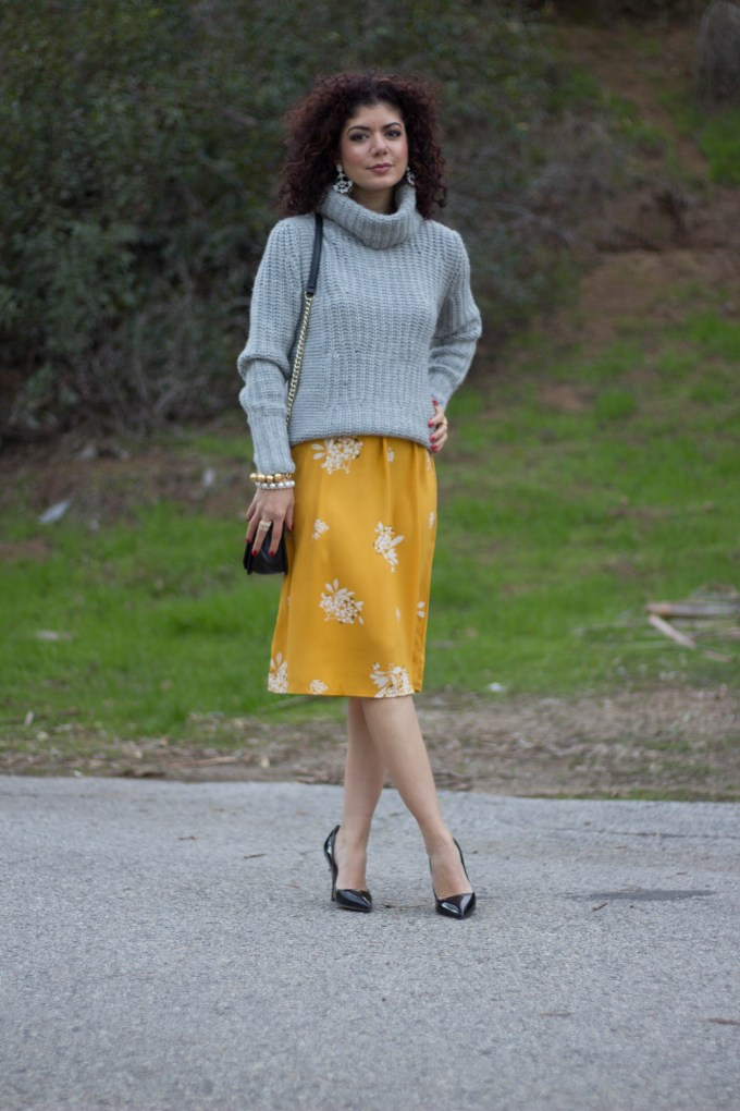 Gray and mustard outfit on blogger polished whimsy