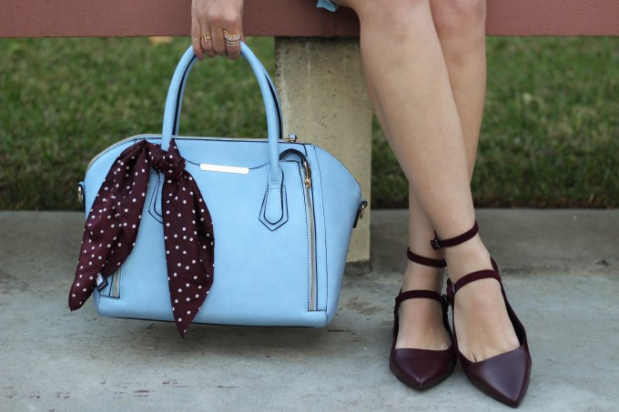 Baby blue and burgundy accessories as seen on Polished Whimsy