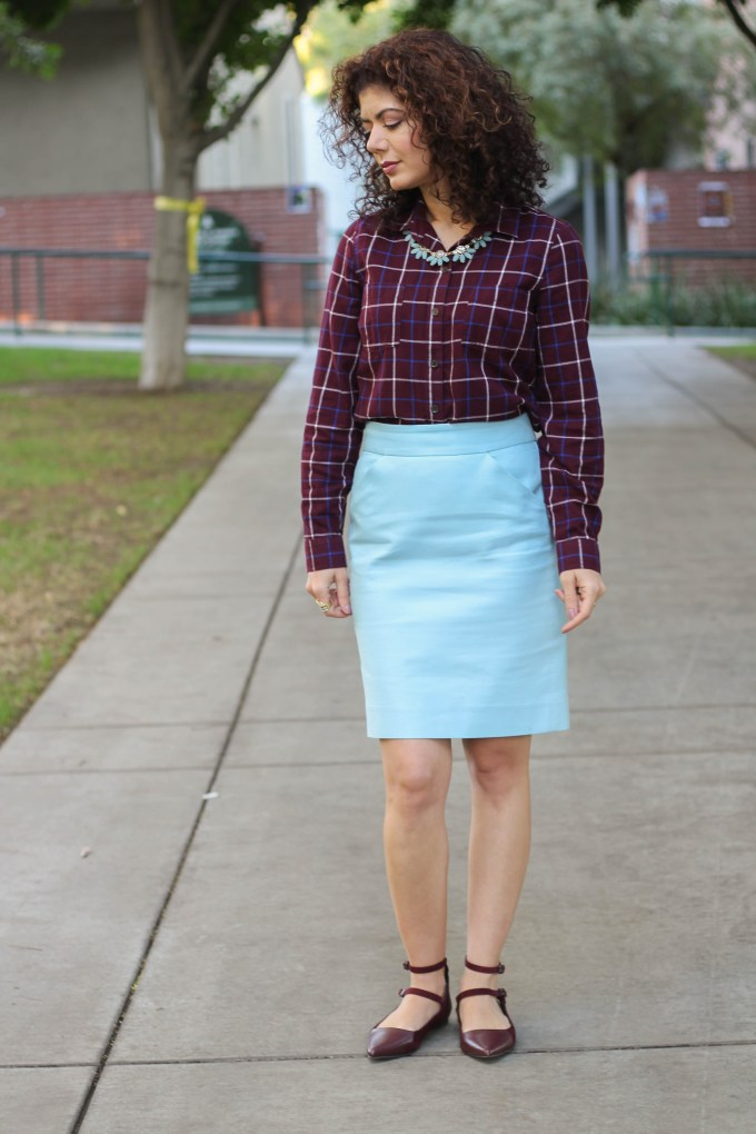 Polished whimsy in burgundy plaid and baby blue skirt