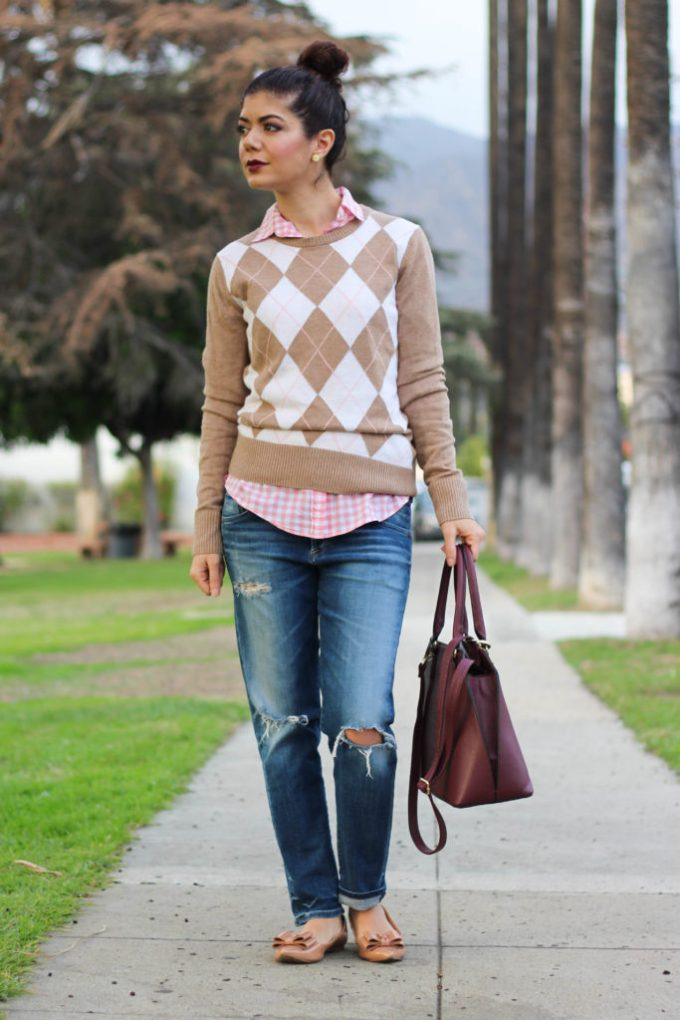 Polished whimsy in casual burgundy and pink outfit