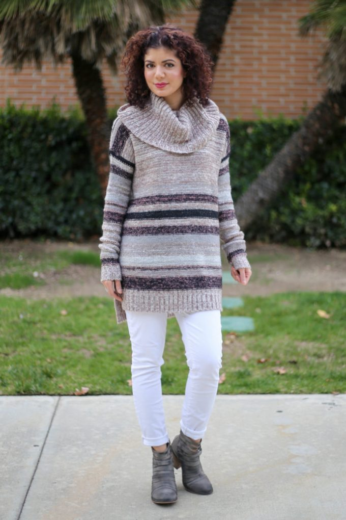 Polished whimsy in white jeans in winter casual outfit