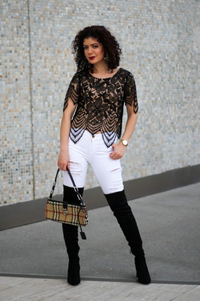 Polished whimsy in white jeans and lace