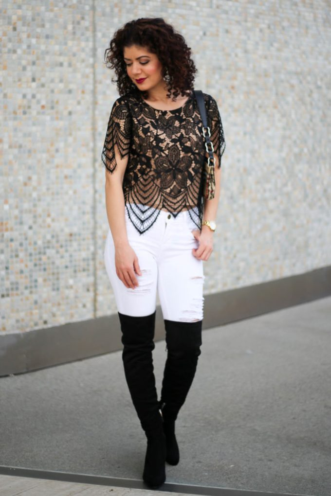 Polished whimsy in white jeans in winter and lace going out outfit