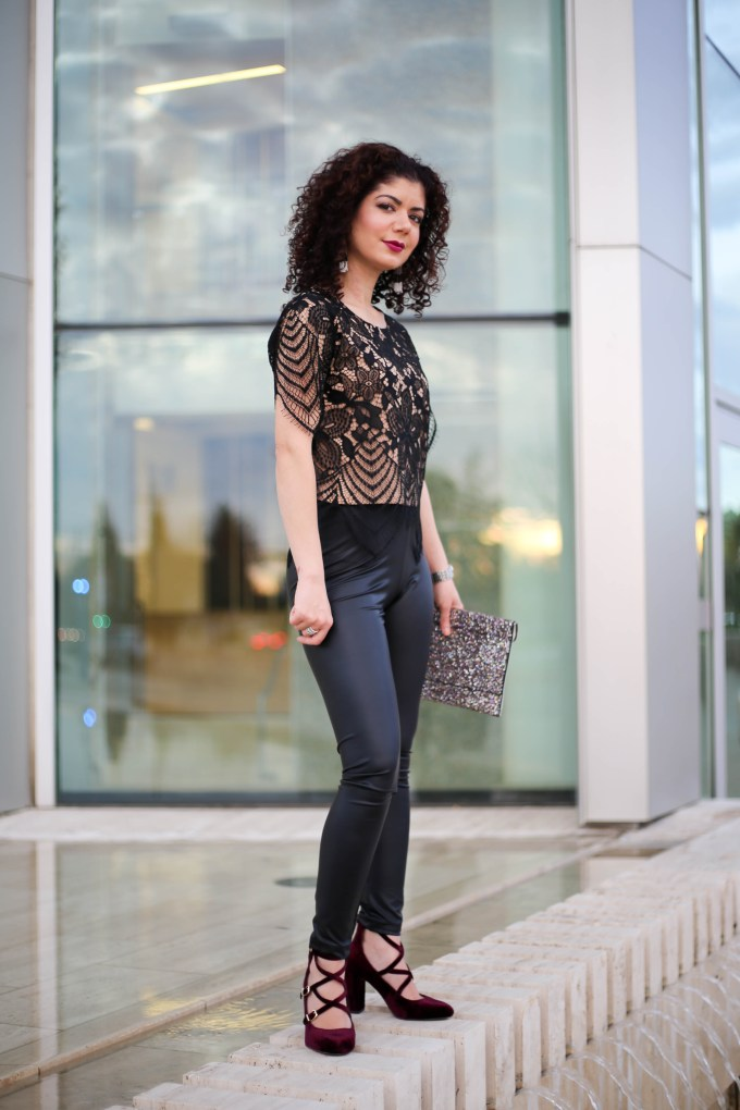 Polished whimsy in leather leggings going out outfit