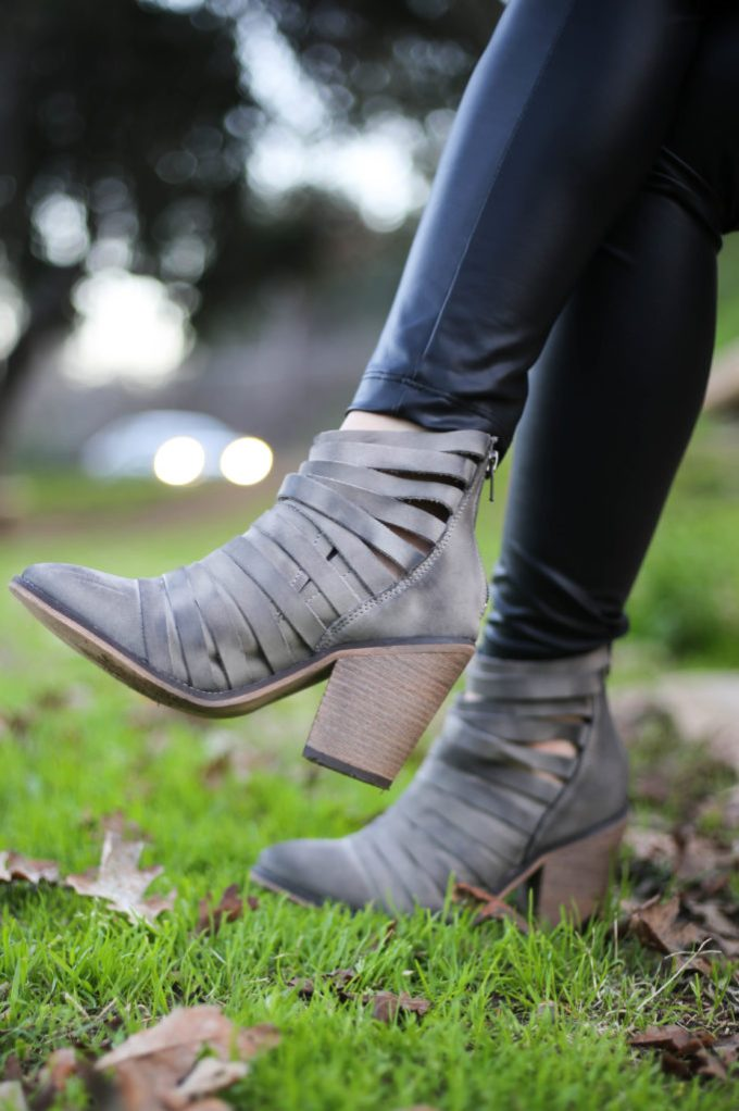 Polished whimsy in leather leggings and Free People Hybrid leather booties