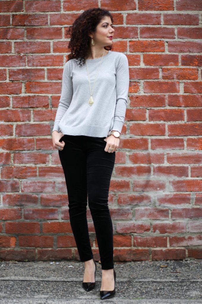 Polished whimsy in velvet jeans