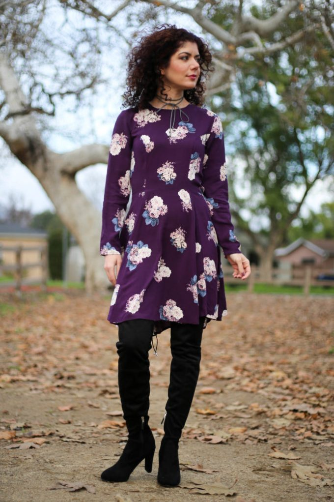 Polished whimsy in winter florals dress with over the knee boots