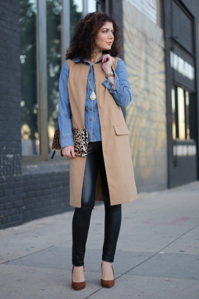 everyday style blogger polished whimsy wearing leather leggings, chambray j crew shirt long vest leopard print clutch for work outfit
