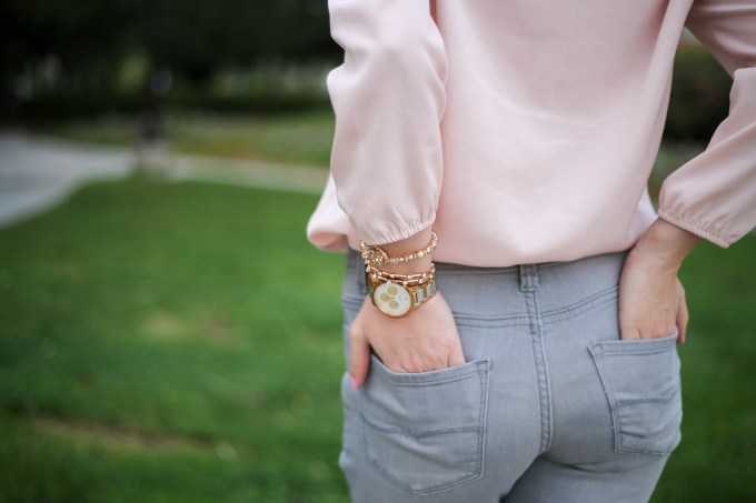 Blush and gray color block outfit with rose gold arm party