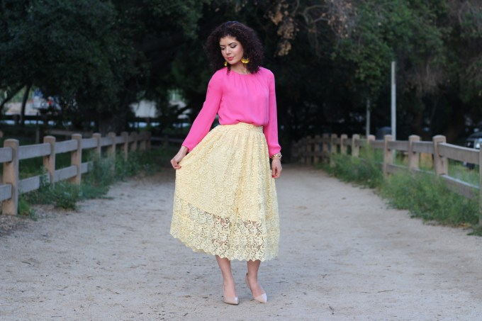 Everyday style blogger polished whimsy in pink and yellow Easter outfit featuring HM yellow lace skirt and J Crew pink blouse in a spring color combination.