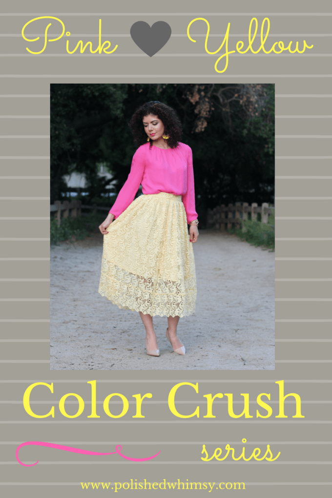 Pink and yellow color and outfit combination featured on the color crush series on polished whimsy blog. A color blocking outfit with the HM yellow lace skirt and pink J crew blouse, making a perfect Easter outfit.