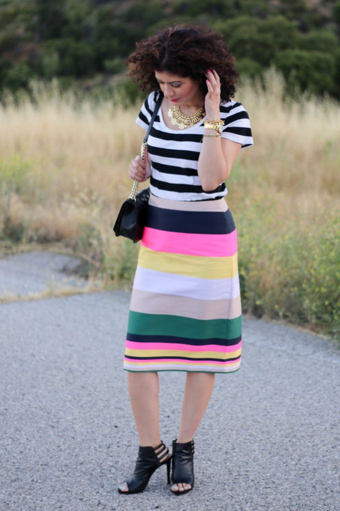 Rugby stripe pattern mixing with J Crew pop stripe skirt and black and white striped tee shirt resulting in double stripe outfit