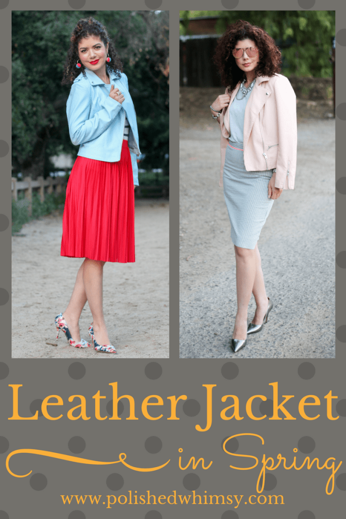 Styling leather jackets for spring work outfits. From pattern mixing with midi skirts to sharp pencil skirts.