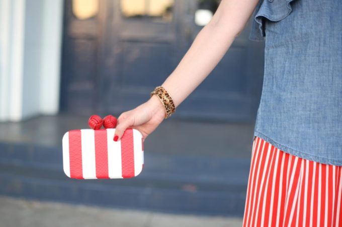 Fourth of July outfit idea with J crew ruffle top in chambray and Sam Edelman Bailey striped clutch