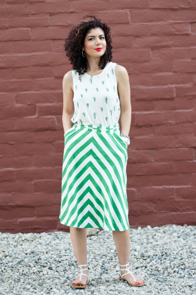 Cactus print top and anthropologie chevron printed skirt results in a fun and whimsical pattern mixing outfit