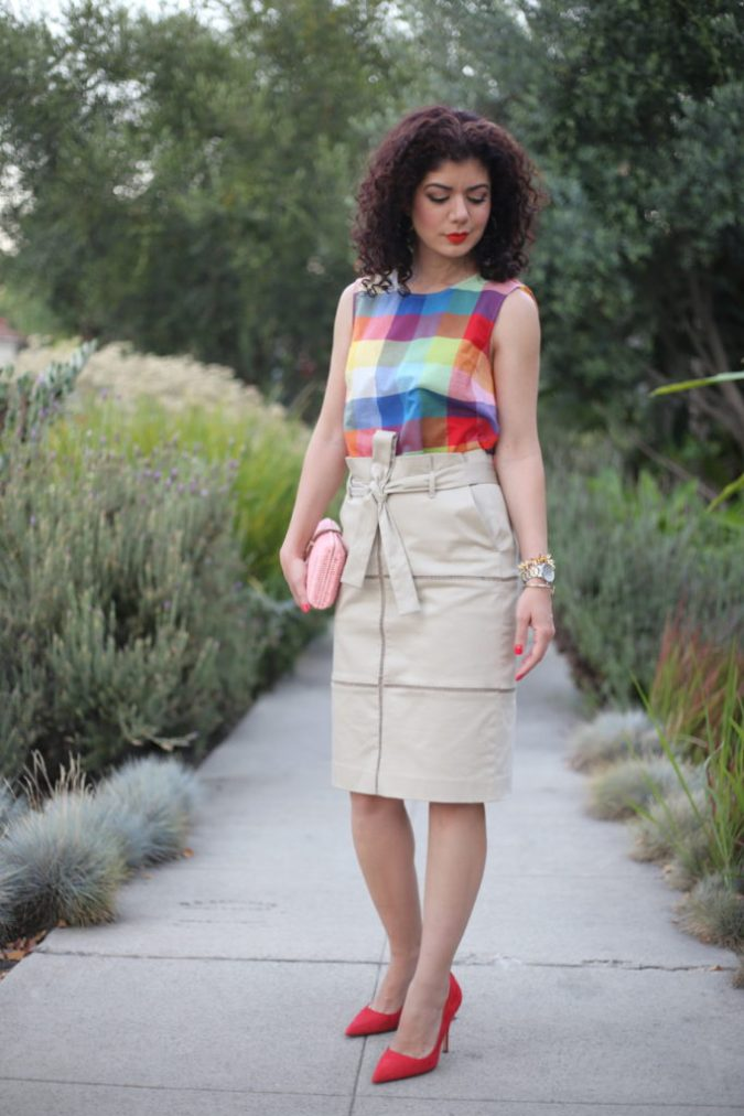 Four ways to style a paper-bag waist skirt