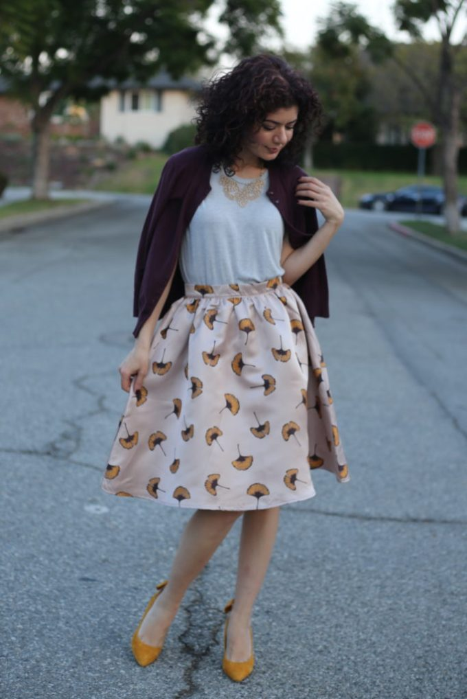 Styling a floral skirt for fall: how to make it look season appropriate | Anthropologie Ciana printed skirt | Colorful outfit | fall florals | Fall floral skirt | mustard and burgundy | fall outfit | fall style