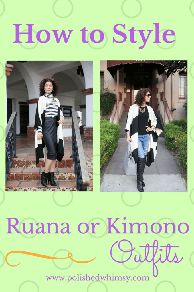 e6ed2b254 Two ways to style a kimono or ruana. Try a work appropriate day look as