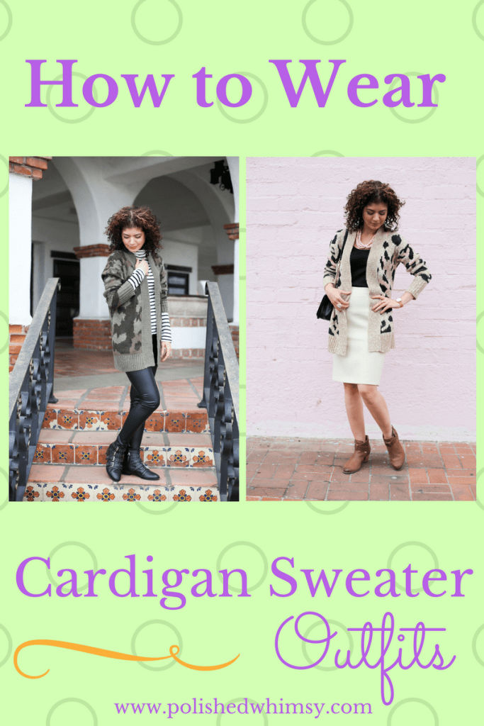 How to wear cardigan sweater outfits: casual cardigan sweater outfit, pattern mixing with J crew striped turtleneck, Target mossimo, camo print cardigan, chunky cardigan, studded boots, J crew ivory pencil skirt, Vionic Rory booties, leopard print cardigan