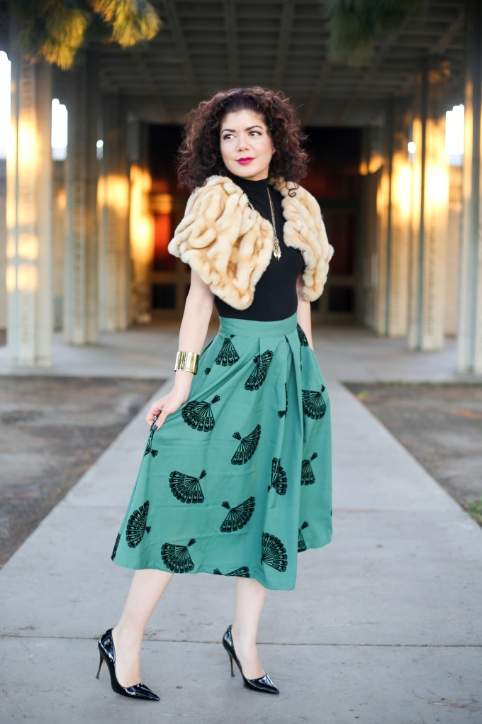 12 Days of Skirtmas featuring the Modcloth B Jones style midi skirt in pine green | winter outfit | skirt outfit | fur stole | winter style | commando bodysuit | Kate Spade Licorice heels