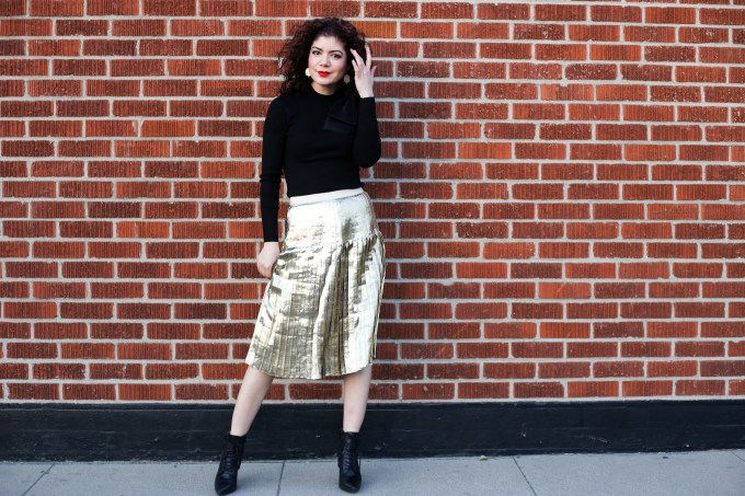 Pleated metallic skirt and fur jacket party outfit | winter style | gold pleated skirt | Ted Baker bow sweater | midi skirt | skirt outfit | polished whimsy | everyday style blog | 12 days of skirtmas | how to wear more skirts | striped fur jacket