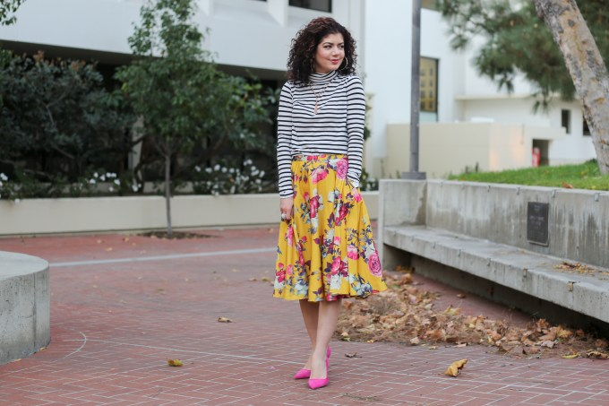 Pattern mixing with the Modcloth ikebana midi skirt: Achieve the perfect pattern mix with this floral skirt and striped top combo. Fall style | winter style | pretty color combination | J Crew tissue turtleneck | mustard yellow and pink | skirt outfit | polished whimsy | everyday style blog