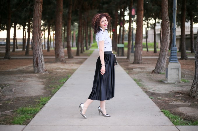 8f10e93a3d Halogen velvet pleated midi skirt styled two ways for Skirtmas on Polished  Whimsy blog.