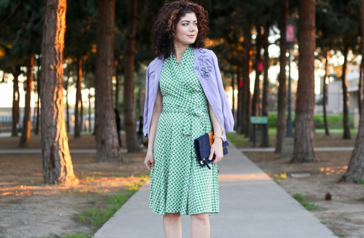 Green and lavender outfit | pretty color combination | outfit inspiration | color inspiration | colorful outfit | Karina dresses review | ruby dress | cardigan | faux wrap dress | color palette | feminine style | feminine outfit | work outfit | church outfit | modest outfit
