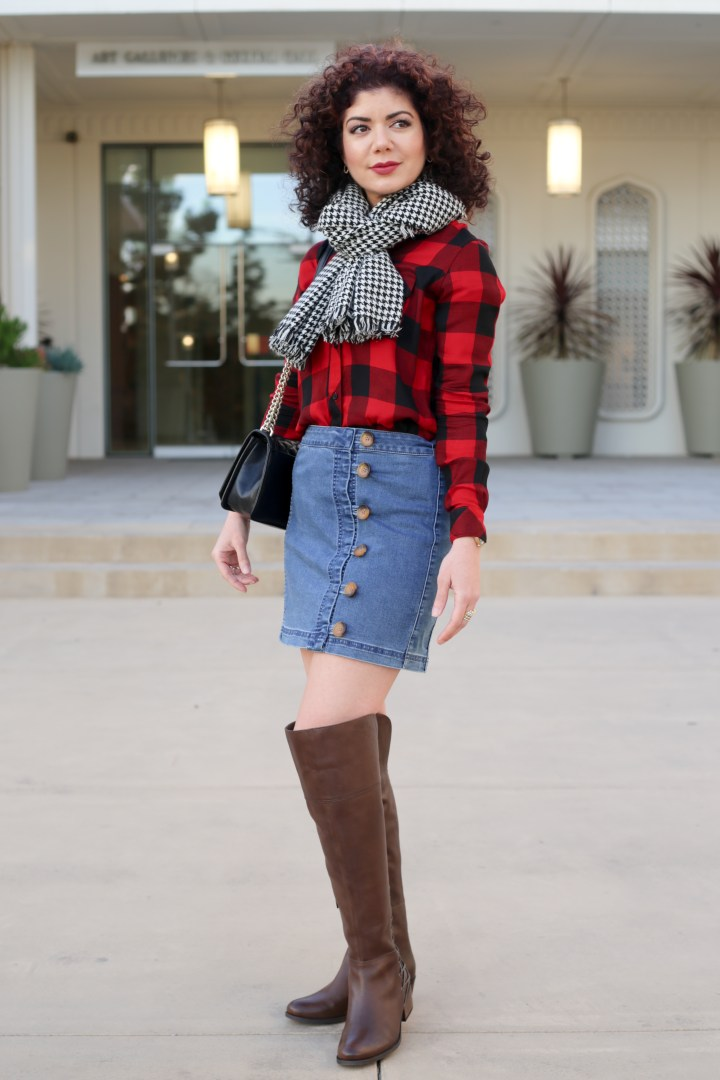 mini skirt and OTK boots | over the knee boots | winter outfit | sweater | winter style | short skirt | skirt outfit | Free People Little Daisies Indigo Mini Skirt | denim skirt | buffalo plaid button down shirt | houndstooth scarf | brown vince camuto boots