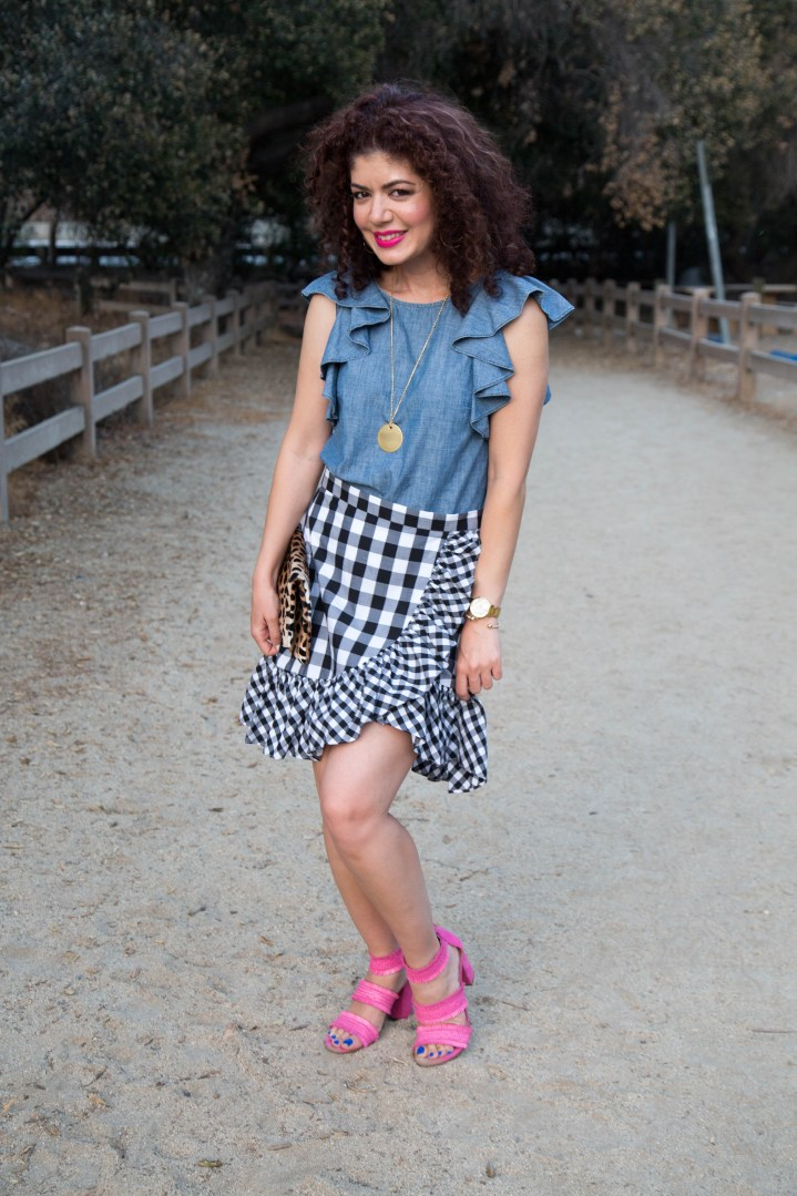 J Crew gingham ruffle mini skirt review | chambray ruffle top | pink sandals | summer outfit | styling a skirt | polished whimsy | skirtmas in july | pattern mixing and colorful style blog | fashion | style | outfit ideas