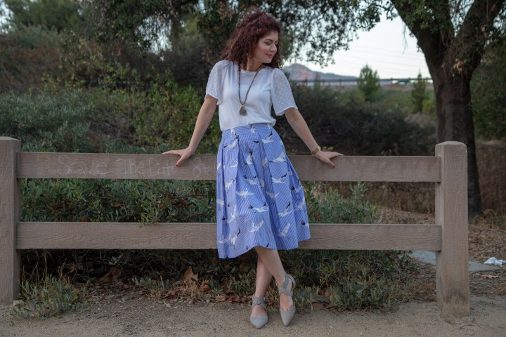 Who What Wear crane skirt | Target style | birdcage skirt | midi skirt | blue and white stripes | bird print | loft | gray flats | skirtgirl | skirtmas in july | polished whimsy | pattern mixing and colorful style blog