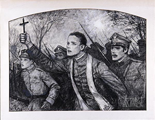 Władysław Benda (1873-1948) Reverend Skorupka | Ksiądz Skorupka, circa 1920 Charcoal on paper | węgiel na papierze