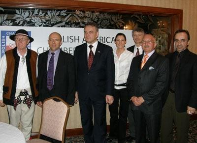(L to R): Stanislaw Zagata, Henry Kazmierczak, Waldemar Pawlak, Anna