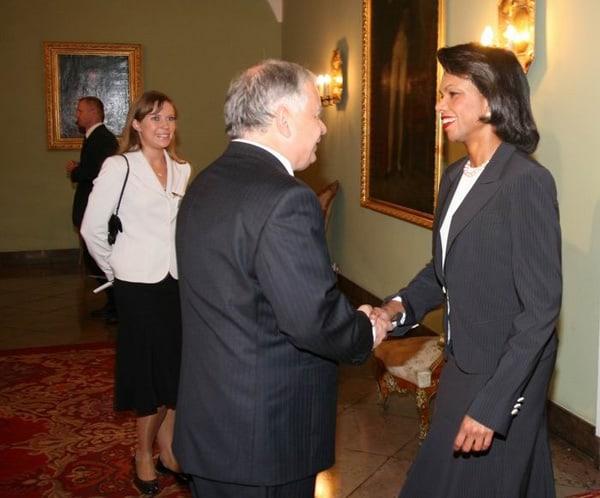 Lech Kaczyński i Condoleezza Rice