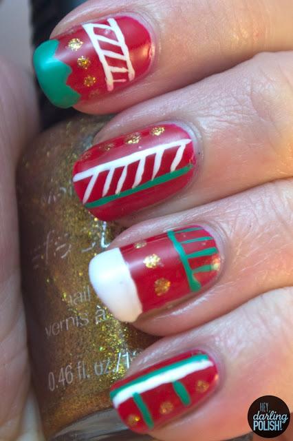 nails, nail art, nail polish, tribal, christmas, red, green, white, gold, hey darling polish