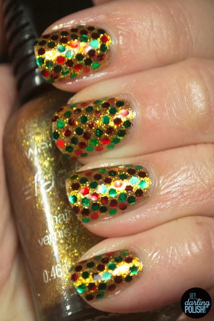 nails, nail art, nail polish, glequins, red, green, gold, glitter, hey darling polish, christmas, holiday, christmas winter challenge